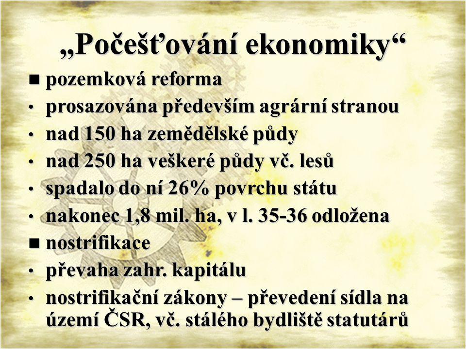 MEZIVÁLEČNÉ ČESKOSLOVENSKO 1921 – hospodářská krize 1921 – hospodářská krize průmyslová výroba o ¼, nezaměstnanost 440t průmyslová výroba o ¼, nezaměstnanost 440t vliv deflační politiky – v r.