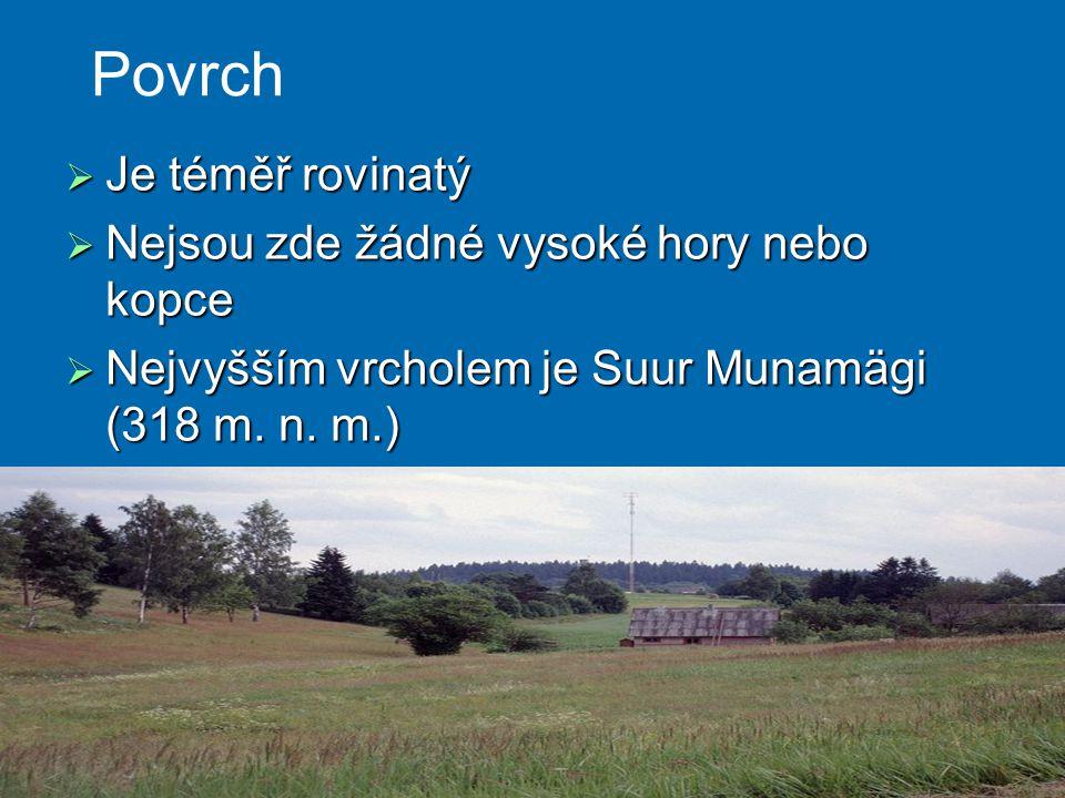  Je téměř rovinatý  Nejsou zde žádné vysoké hory nebo kopce  Nejvyšším vrcholem je Suur Munamägi (318 m. n. m.) Povrch