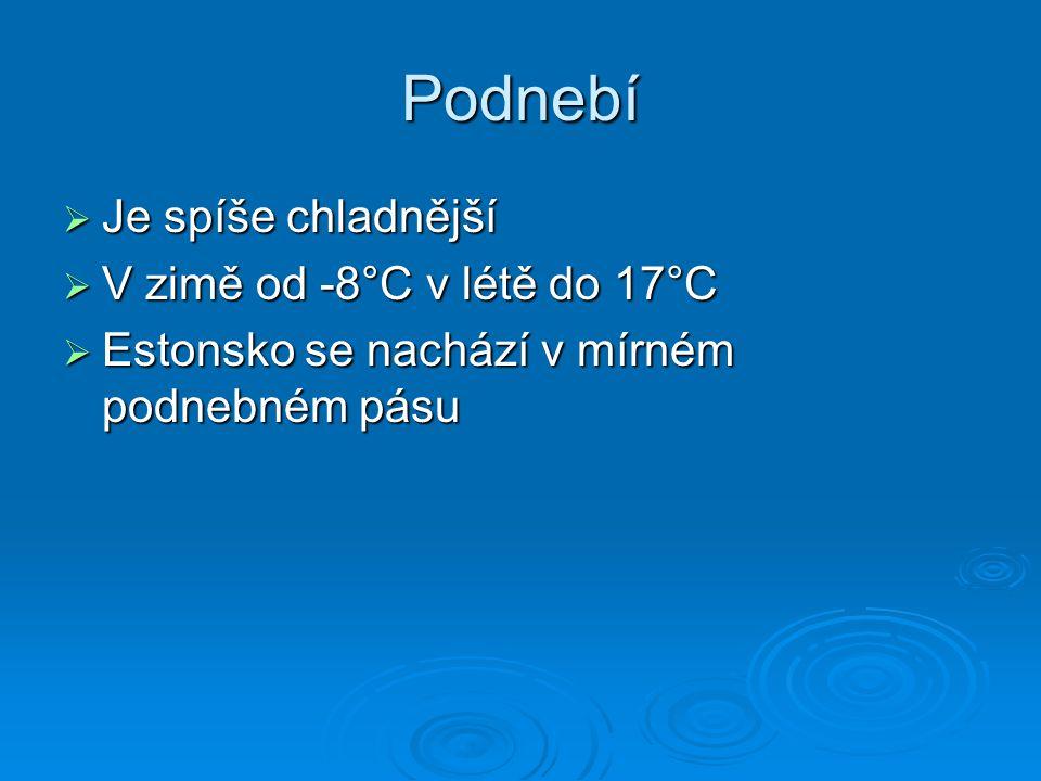 Podnebí  Je spíše chladnější  V zimě od -8°C v létě do 17°C  Estonsko se nachází v mírném podnebném pásu
