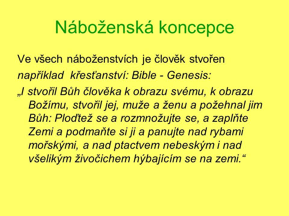 """Náboženská koncepce Ve všech náboženstvích je člověk stvořen například křesťanství: Bible - Genesis: """"I stvořil Bůh člověka k obrazu svému, k obrazu B"""