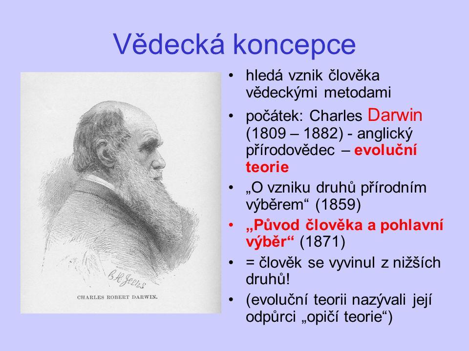 """Vědecká koncepce hledá vznik člověka vědeckými metodami počátek: Charles Darwin (1809 – 1882) - anglický přírodovědec – evoluční teorie """"O vzniku druh"""