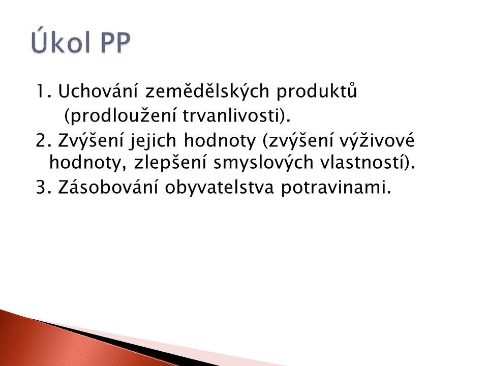 1. Uchování zemědělských produktů (prodloužení trvanlivosti).