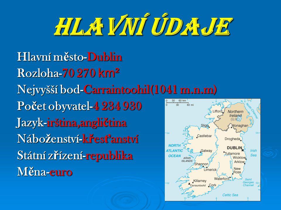 HLAVNÍ ÚDAJE Hlavní m ě sto-Dublin Rozloha-70 270 km² Nejvyšší bod-Carraintoohil(1041 m.n.m) Po č et obyvatel-4 234 930 Jazyk-irština,angli č tina Náb