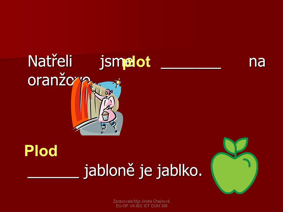 Natřeli jsme _______ na oranžovo. ______ jabloně je jablko. plot Plod Zpracovala Mgr.Jindra Chejnová, EU-OP VK-III/2 ICT DUM 308