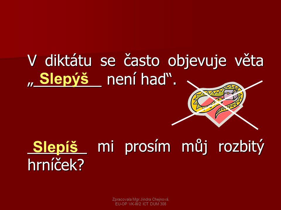"""V diktátu se často objevuje věta """"________ není had"""". _______ mi prosím můj rozbitý hrníček? Slepýš Slepíš Zpracovala Mgr.Jindra Chejnová, EU-OP VK-II"""