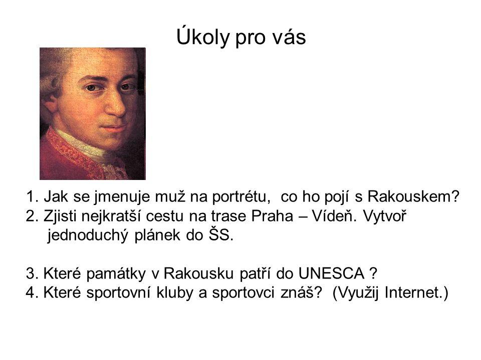 Úkoly pro vás 1.Jak se jmenuje muž na portrétu, co ho pojí s Rakouskem.