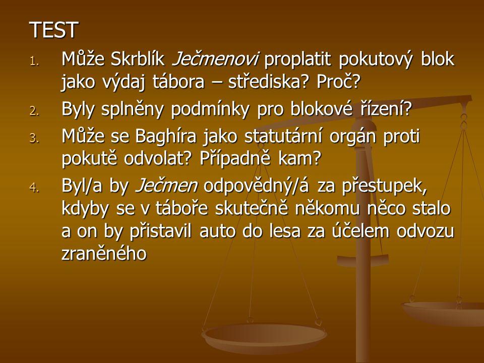 TEST 1. Může Skrblík Ječmenovi proplatit pokutový blok jako výdaj tábora – střediska.