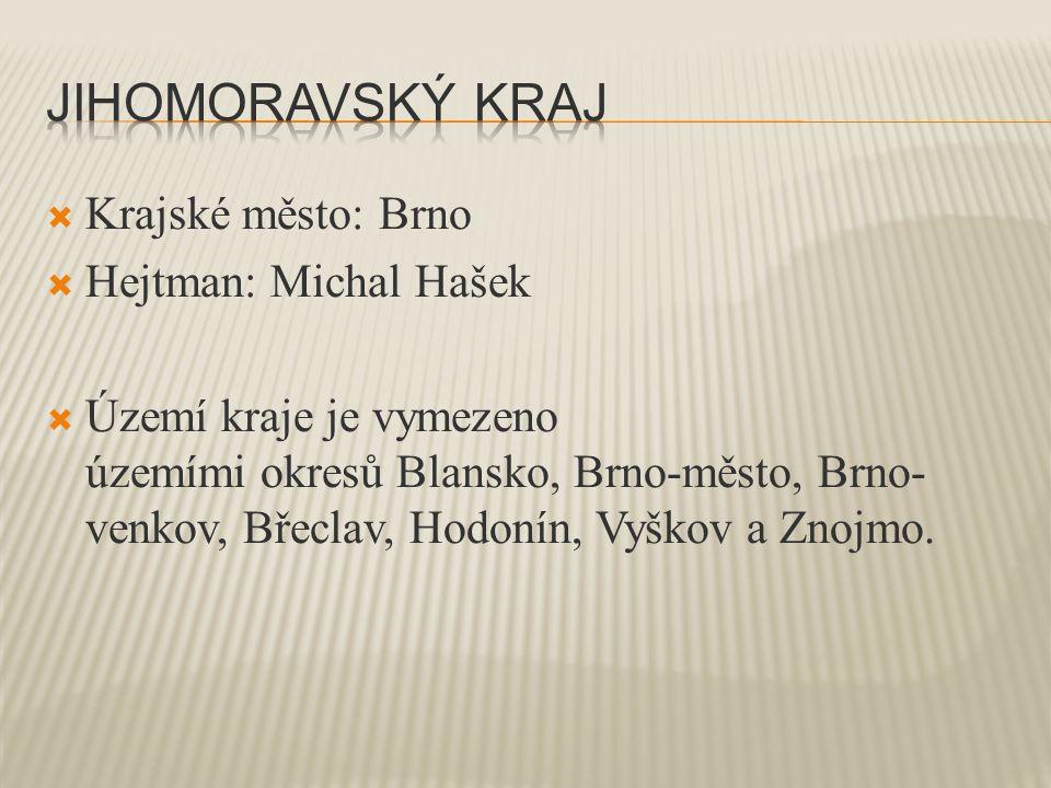  Krajské město: Brno  Hejtman: Michal Hašek  Území kraje je vymezeno územími okresů Blansko, Brno-město, Brno- venkov, Břeclav, Hodonín, Vyškov a Znojmo.
