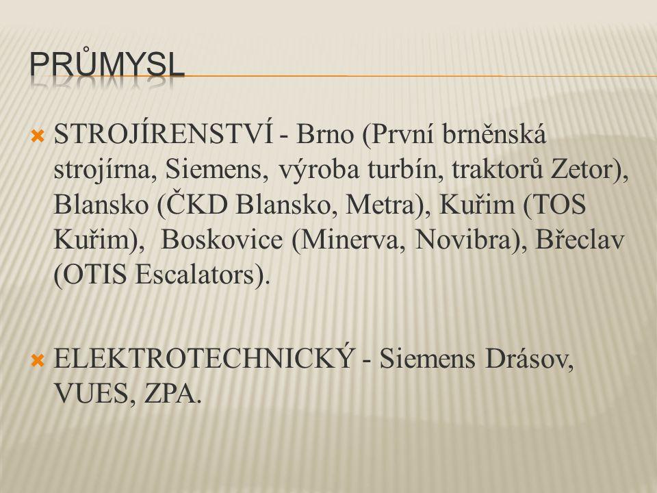  STROJÍRENSTVÍ - Brno (První brněnská strojírna, Siemens, výroba turbín, traktorů Zetor), Blansko (ČKD Blansko, Metra), Kuřim (TOS Kuřim), Boskovice