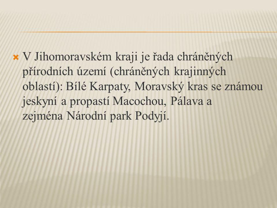  V Jihomoravském kraji je řada chráněných přírodních území (chráněných krajinných oblastí): Bílé Karpaty, Moravský kras se známou jeskyní a propastí Macochou, Pálava a zejména Národní park Podyjí.