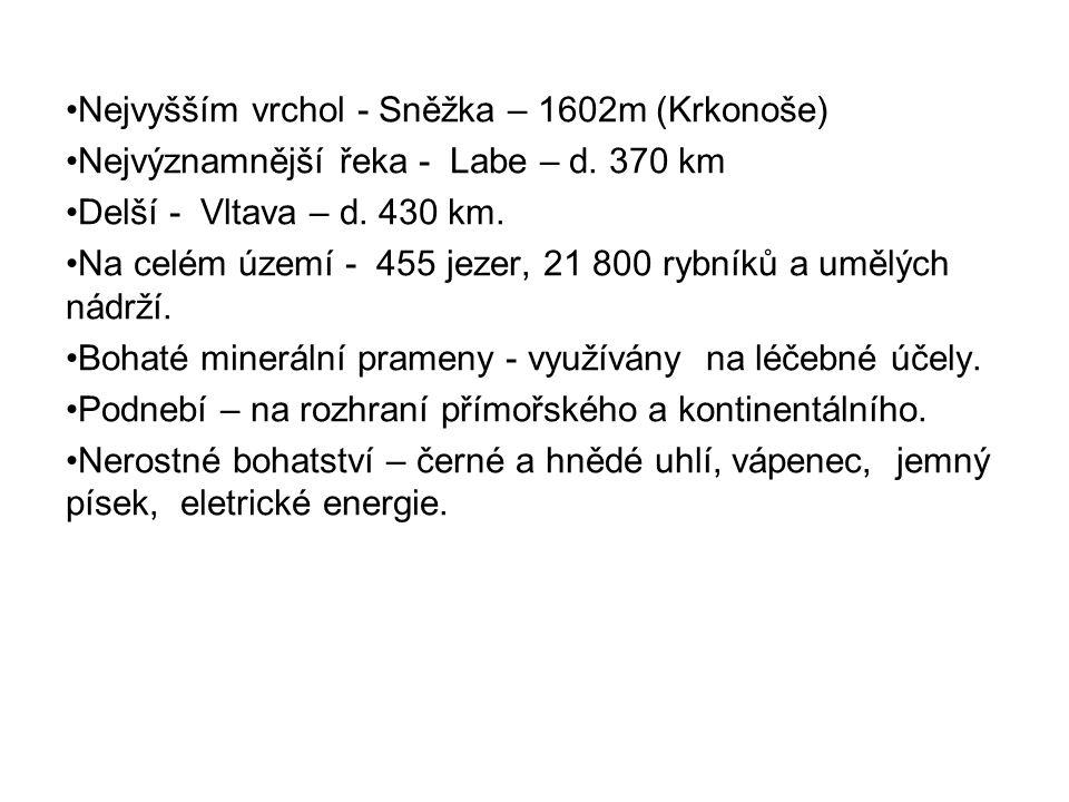 Nejvyšším vrchol - Sněžka – 1602m (Krkonoše) Nejvýznamnější řeka - Labe – d. 370 km Delší - Vltava – d. 430 km. Na celém území - 455 jezer, 21 800 ryb