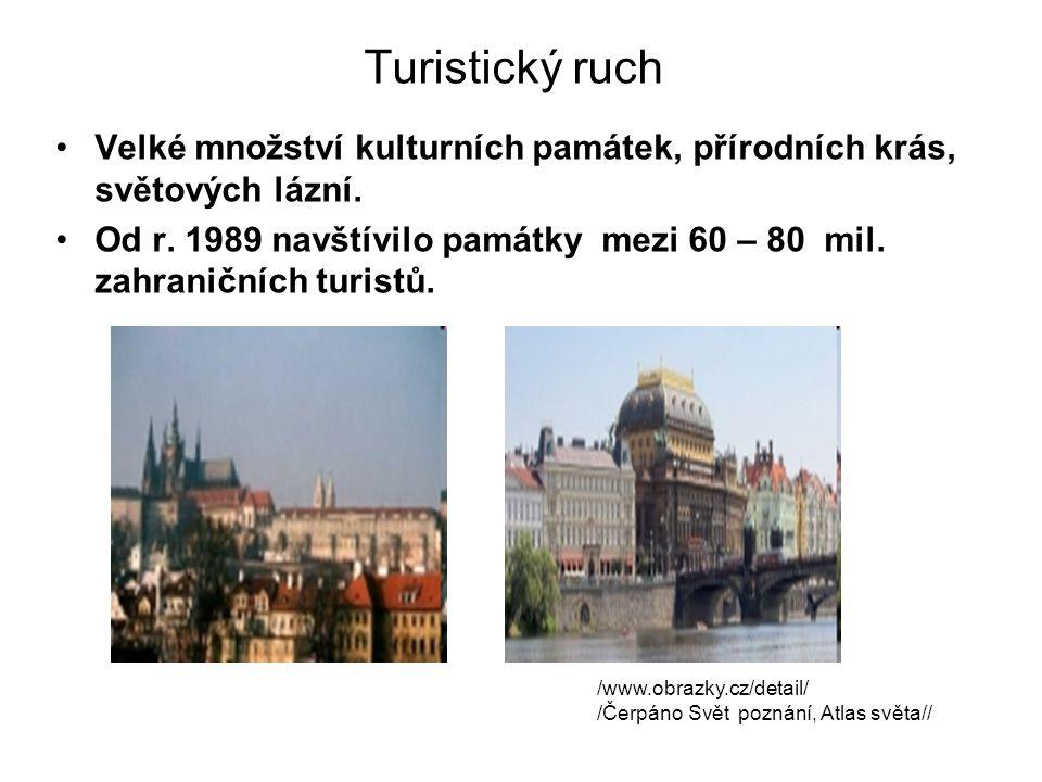 Turistický ruch Velké množství kulturních památek, přírodních krás, světových lázní. Od r. 1989 navštívilo památky mezi 60 – 80 mil. zahraničních turi