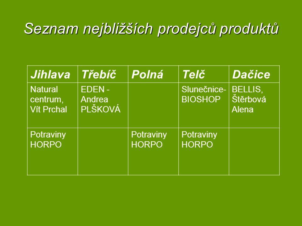 Seznam nejbližších prodejců produktů JihlavaTřebíčPolnáTelčDačice Natural centrum, Vít Prchal EDEN - Andrea PLŠKOVÁ Slunečnice- BIOSHOP BELLIS, Štěrbová Alena Potraviny HORPO