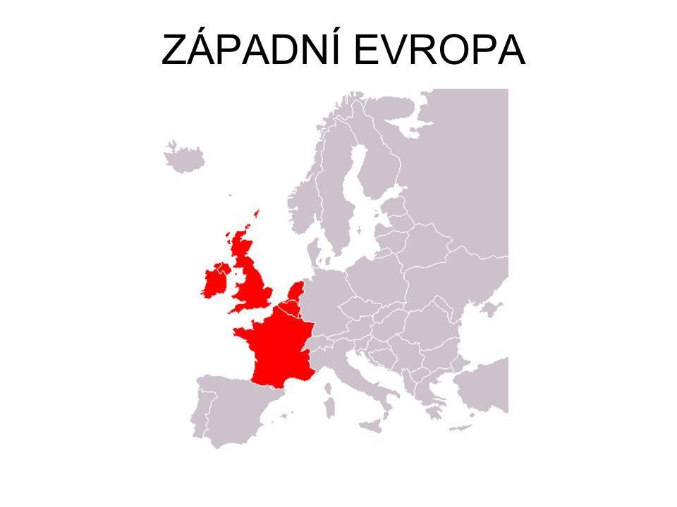 Západní Evropa - úvod Přírodní podmínky: Nížinaté oblasti, nebo stará zarovnaná pohoří (jádra kontinentů).