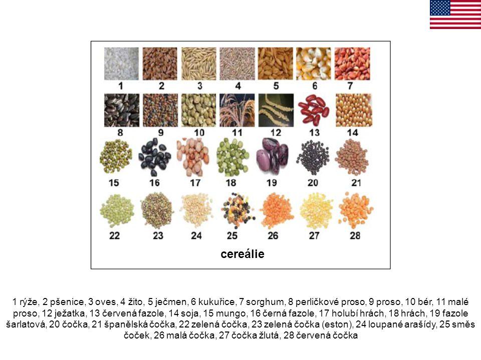 1 rýže, 2 pšenice, 3 oves, 4 žito, 5 ječmen, 6 kukuřice, 7 sorghum, 8 perličkové proso, 9 proso, 10 bér, 11 malé proso, 12 ježatka, 13 červená fazole,