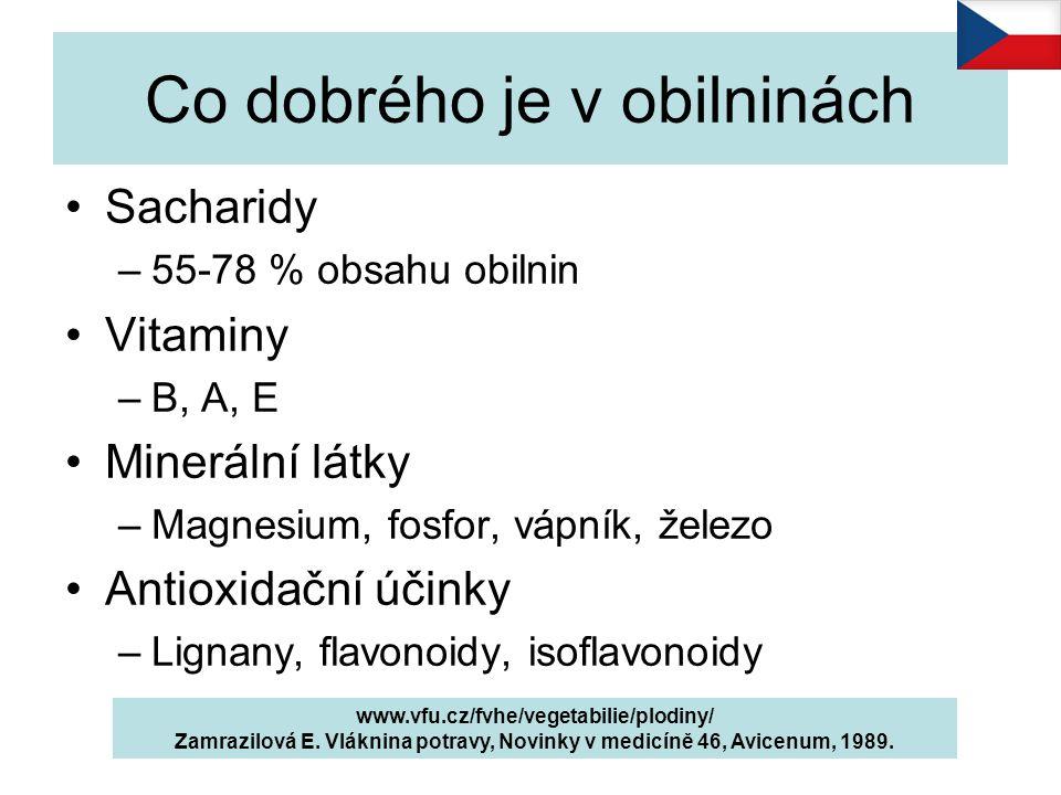 Co dobrého je v obilninách www.vfu.cz/fvhe/vegetabilie/plodiny/ Zamrazilová E. Vláknina potravy, Novinky v medicíně 46, Avicenum, 1989. Sacharidy –55-