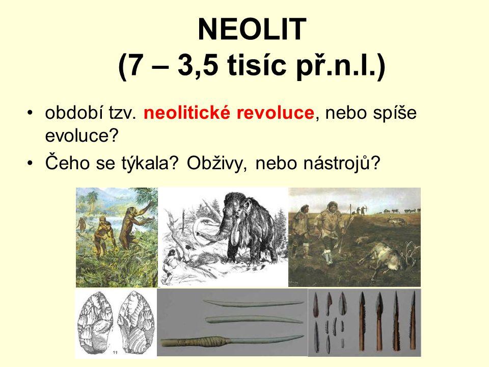NEOLIT (7 – 3,5 tisíc př.n.l.) období tzv. neolitické revoluce, nebo spíše evoluce? Čeho se týkala? Obživy, nebo nástrojů?