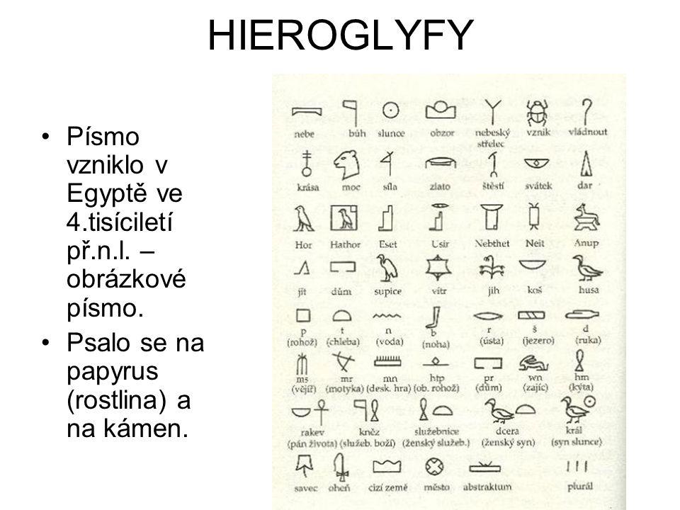 HIEROGLYFY Písmo vzniklo v Egyptě ve 4.tisíciletí př.n.l. – obrázkové písmo. Psalo se na papyrus (rostlina) a na kámen.