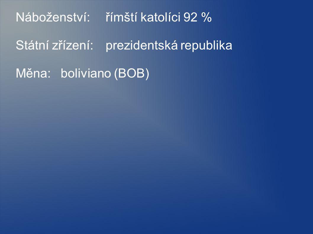 Náboženství: římští katolíci 92 % Státní zřízení: prezidentská republika Měna: boliviano (BOB)