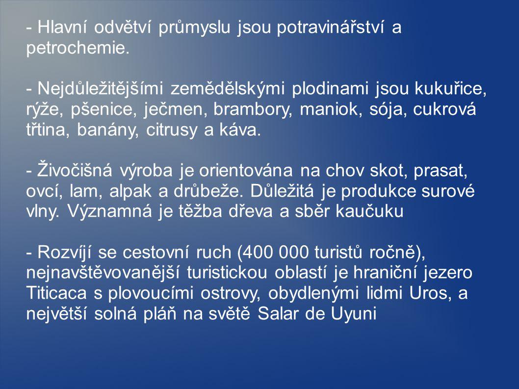 - Hlavní odvětví průmyslu jsou potravinářství a petrochemie.