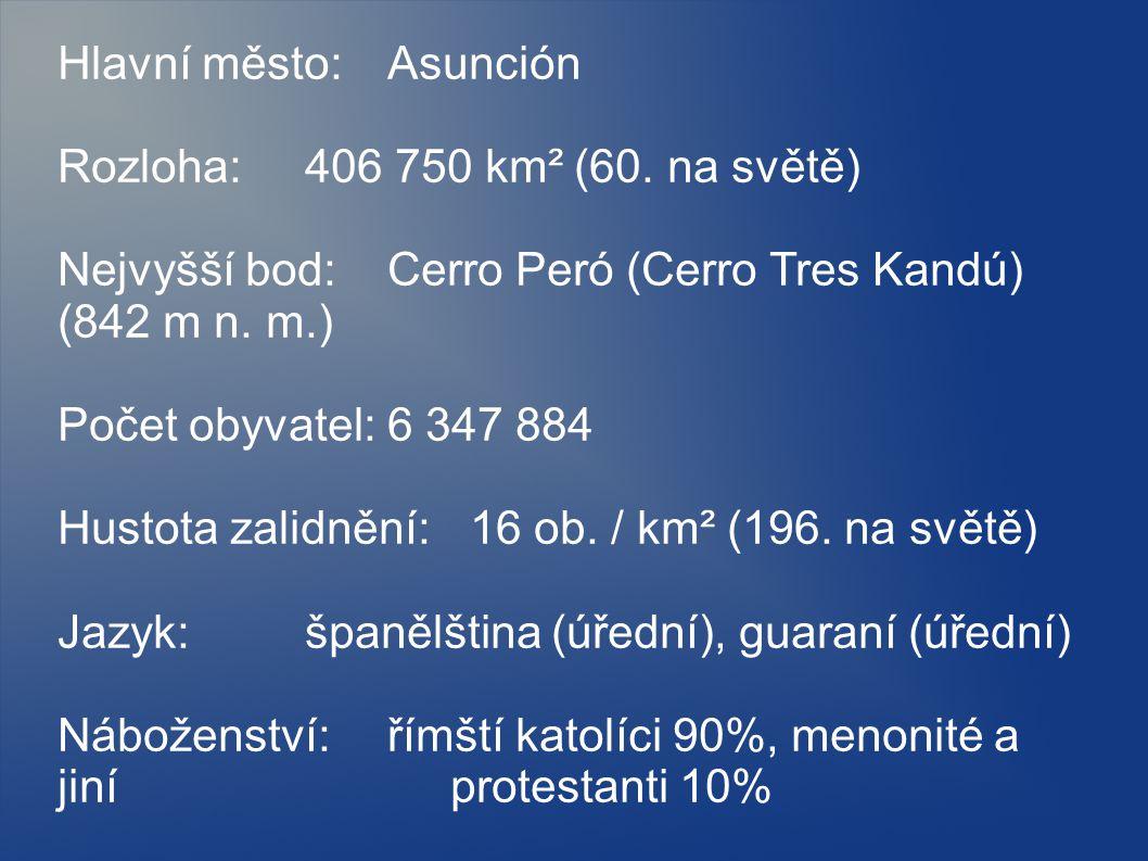 Hlavní město: Asunción Rozloha: 406 750 km² (60. na světě) Nejvyšší bod: Cerro Peró (Cerro Tres Kandú) (842 m n. m.) Počet obyvatel: 6 347 884 Hustota