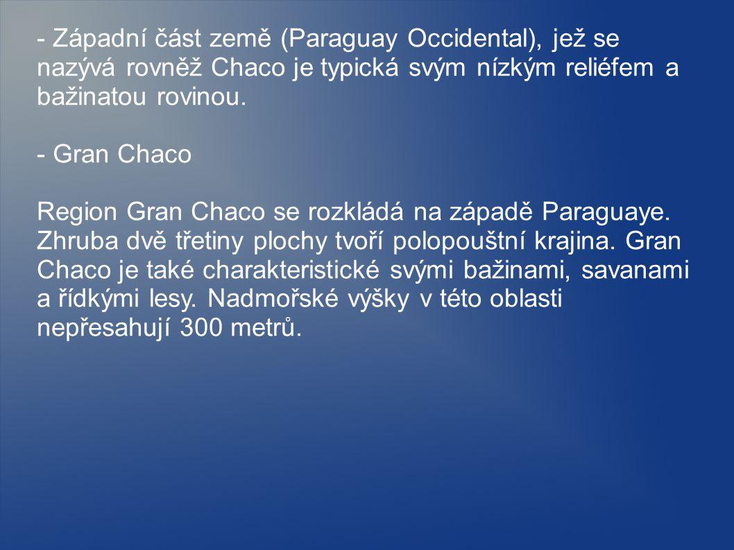 - Západní část země (Paraguay Occidental), jež se nazývá rovněž Chaco je typická svým nízkým reliéfem a bažinatou rovinou. - Gran Chaco Region Gran Ch