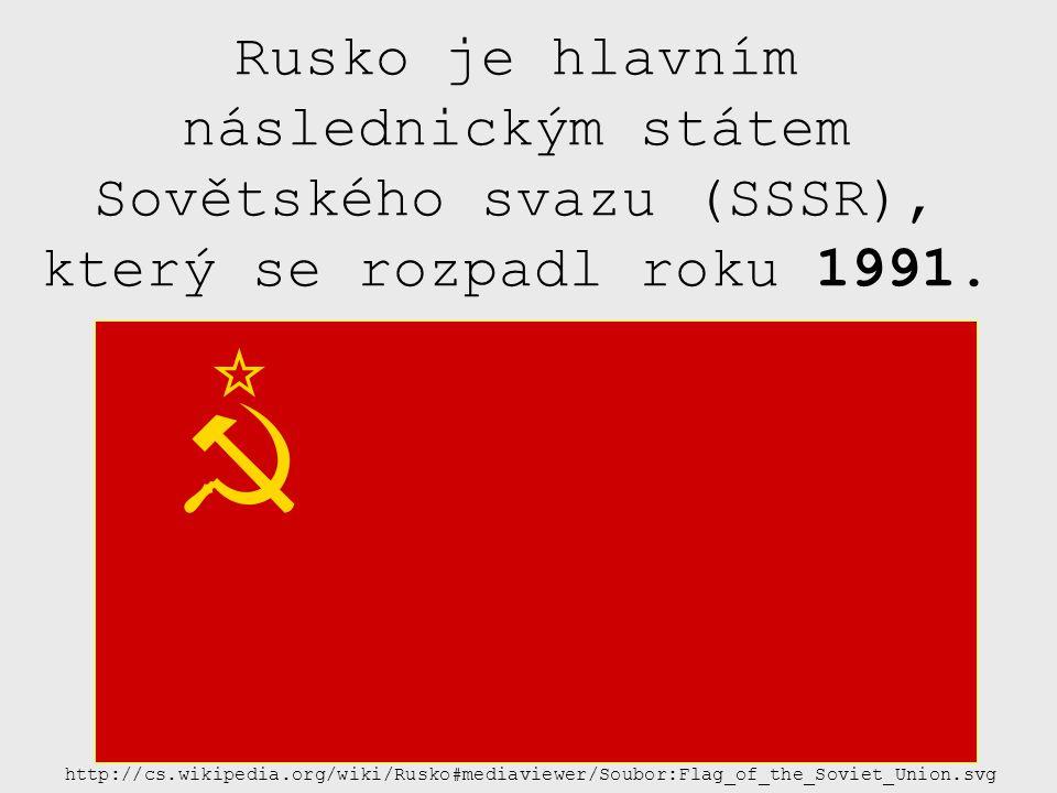 Rusko je hlavním následnickým státem Sovětského svazu (SSSR), který se rozpadl roku 1991. http://cs.wikipedia.org/wiki/Rusko#mediaviewer/Soubor:Flag_o
