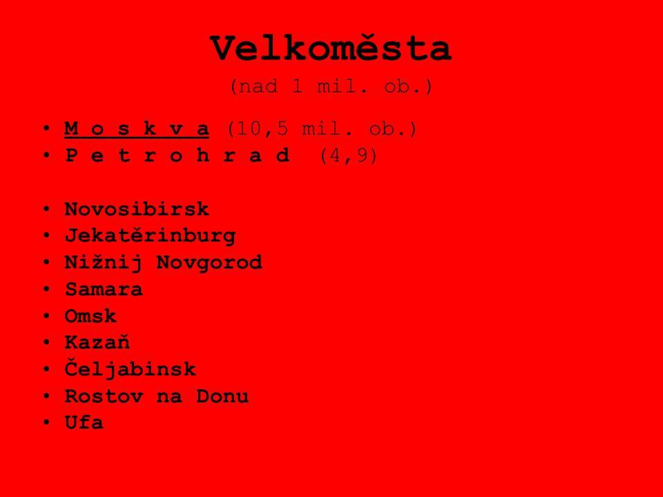 Velkoměsta (nad 1 mil. ob.) M o s k v a (10,5 mil. ob.) P e t r o h r a d (4,9) Novosibirsk Jekatěrinburg Nižnij Novgorod Samara Omsk Kazaň Čeljabinsk