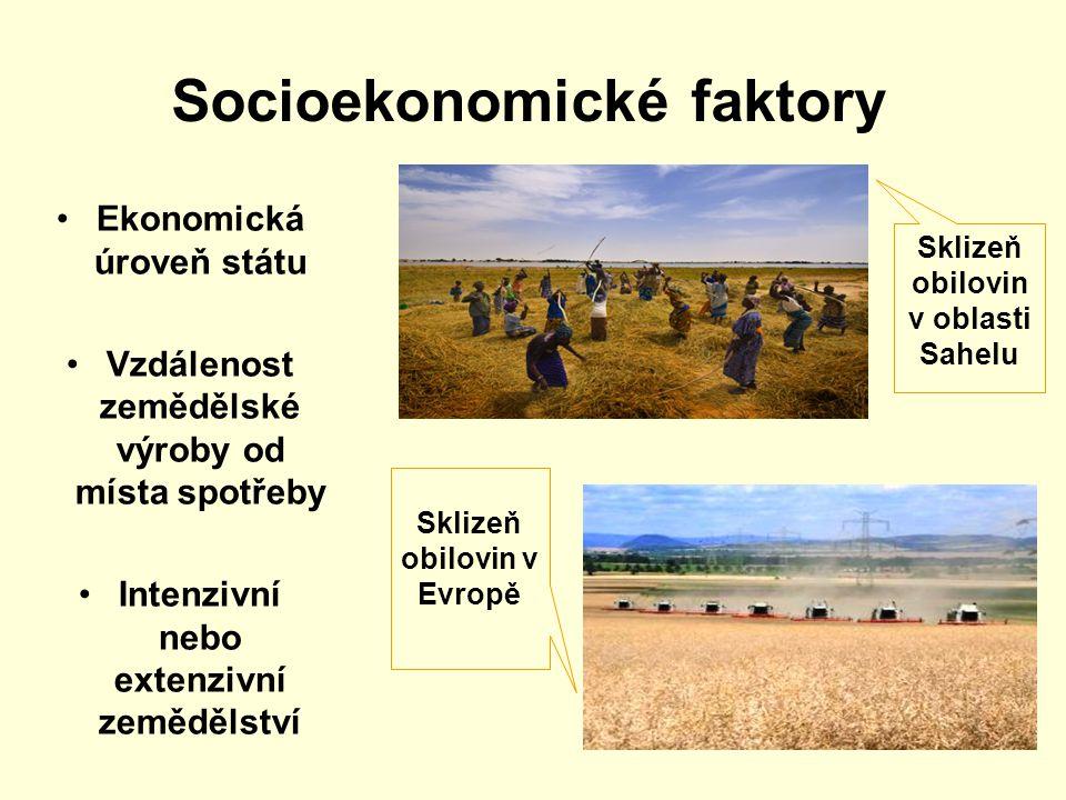 Socioekonomické faktory Ekonomická úroveň státu Vzdálenost zemědělské výroby od místa spotřeby Intenzivní nebo extenzivní zemědělství Sklizeň obilovin