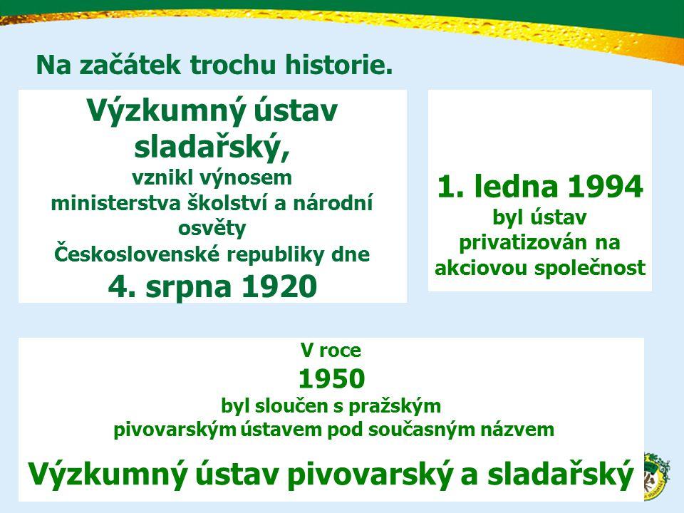 Na začátek trochu historie. Výzkumný ústav sladařský, vznikl výnosem ministerstva školství a národní osvěty Československé republiky dne 4. srpna 1920