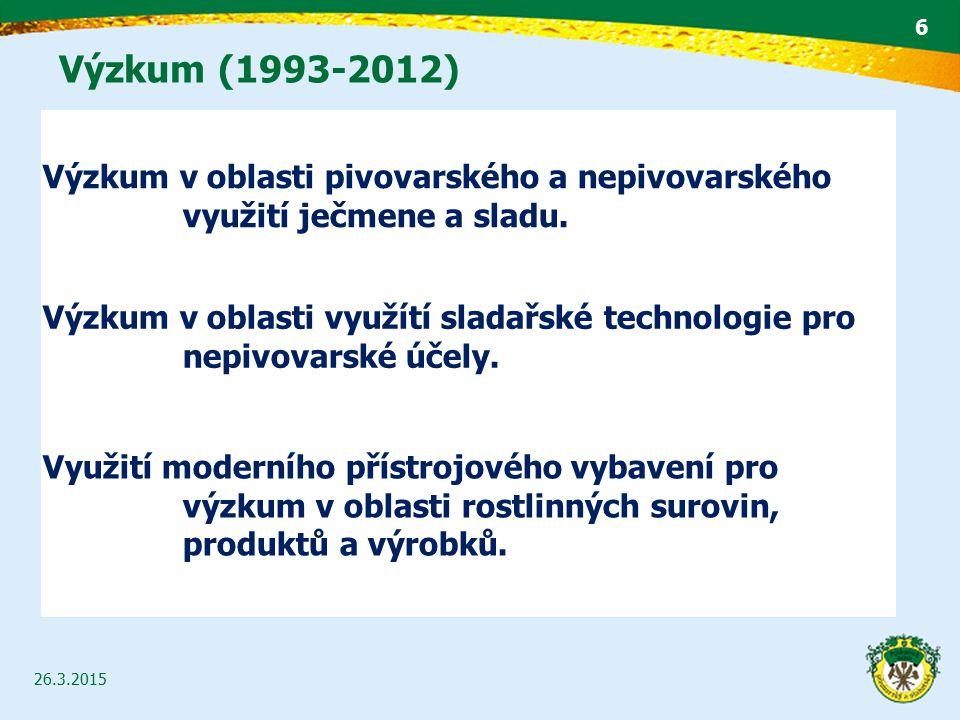 Výzkum (1993-2012) GRANTOVÁ AGENTURA ČESKÉ REPUBLIKY NÁRODNÍ AGENTURA PRO ZEMĚDĚLSKÝ VÝZKUM 4. RÁMCOVÝ PROGRAM (COPERNICUS) NÁRODNÍ PROGRAM VÝZKUMU VÝ