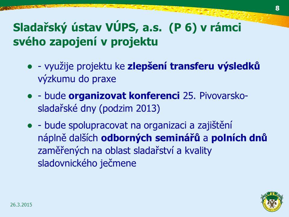 Sladařský ústav VÚPS, a.s. (P 6) v rámci svého zapojení v projektu 26.3.2015 8 - využije projektu ke zlepšení transferu výsledků výzkumu do praxe - bu