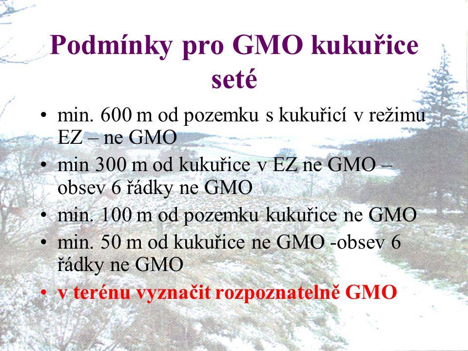 Podmínky pro GMO kukuřice seté min. 600 m od pozemku s kukuřicí v režimu EZ – ne GMO min 300 m od kukuřice v EZ ne GMO – obsev 6 řádky ne GMO min. 100