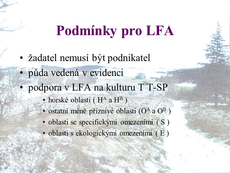 Podmínky pro LFA žadatel nemusí být podnikatel půda vedená v evidenci podpora v LFA na kulturu T T-SP horské oblasti ( H A a H B ) ostatní méně příznivé oblasti (O A a O B ) oblasti se specifickými omezeními ( S ) oblasti s ekologickými omezeními ( E )