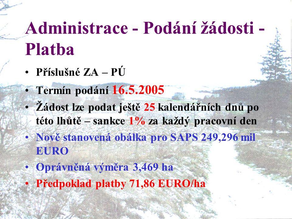 Administrace - Podání žádosti - Platba Příslušné ZA – PÚ Termín podání 16.5.2005 Žádost lze podat ještě 25 kalendářních dnů po této lhůtě – sankce 1% za každý pracovní den Nově stanovená obálka pro SAPS 249,296 mil EURO Oprávněná výměra 3,469 ha Předpoklad platby 71,86 EURO/ha