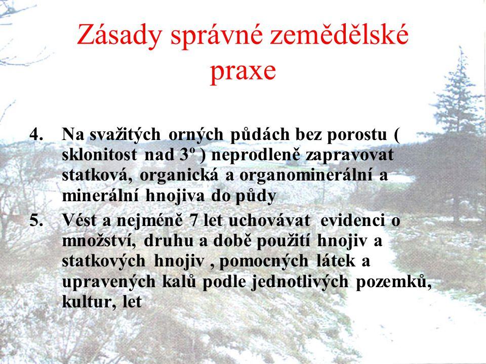 Zásady správné zemědělské praxe 4.Na svažitých orných půdách bez porostu ( sklonitost nad 3º ) neprodleně zapravovat statková, organická a organominer