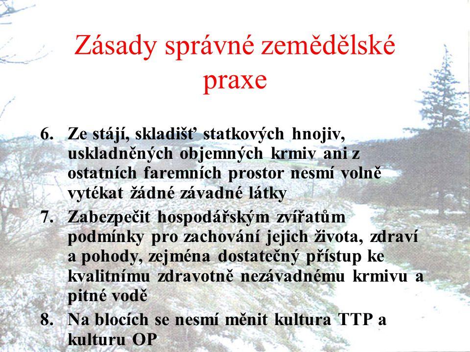 Zásady správné zemědělské praxe 6.Ze stájí, skladišť statkových hnojiv, uskladněných objemných krmiv ani z ostatních faremních prostor nesmí volně vyt