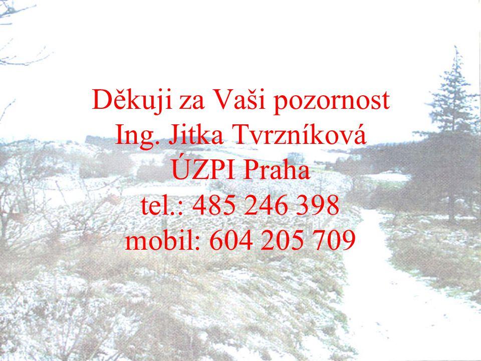Děkuji za Vaši pozornost Ing. Jitka Tvrzníková ÚZPI Praha tel.: 485 246 398 mobil: 604 205 709