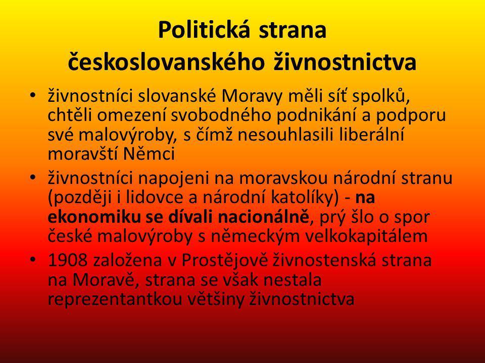 Politická strana českoslovanského živnostnictva živnostníci slovanské Moravy měli síť spolků, chtěli omezení svobodného podnikání a podporu své malový