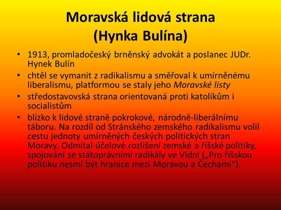 Moravská lidová strana (Hynka Bulína) 1913, promladočeský brněnský advokát a poslanec JUDr. Hynek Bulín chtěl se vymanit z radikalismu a směřoval k um