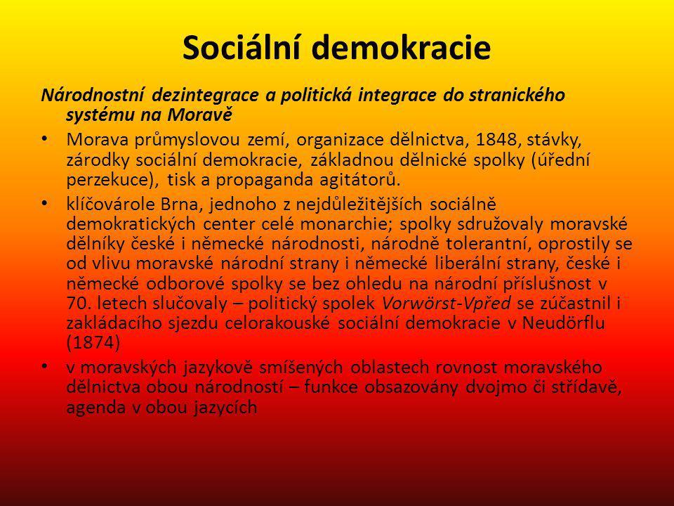 Sociální demokracie Národnostní dezintegrace a politická integrace do stranického systému na Moravě Morava průmyslovou zemí, organizace dělnictva, 184