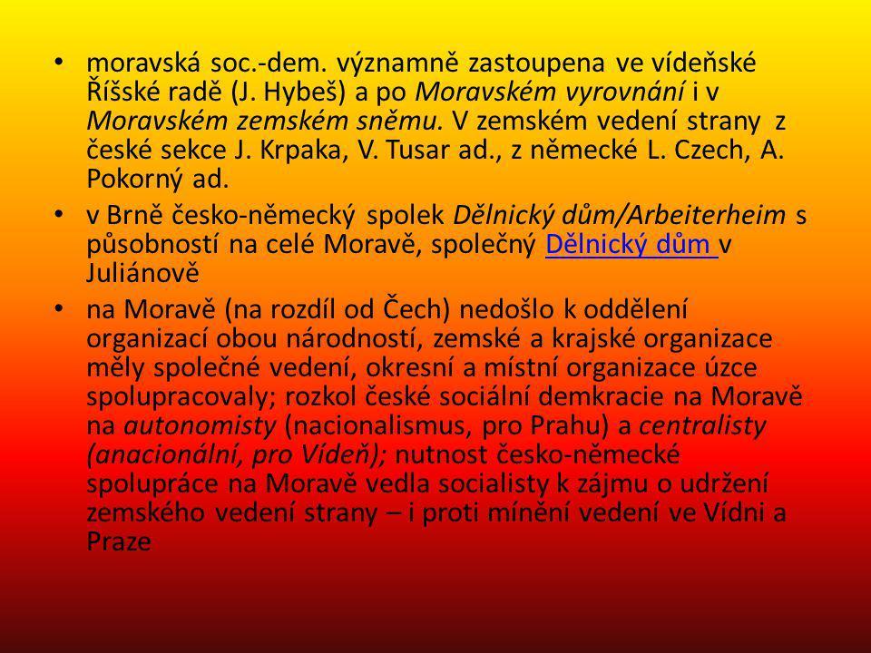 moravská soc.-dem. významně zastoupena ve vídeňské Říšské radě (J. Hybeš) a po Moravském vyrovnání i v Moravském zemském sněmu. V zemském vedení stran