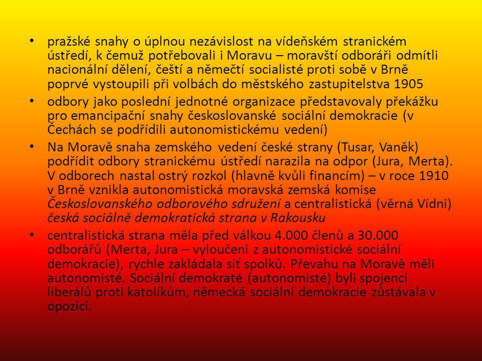 pražské snahy o úplnou nezávislost na vídeňském stranickém ústředí, k čemuž potřebovali i Moravu – moravští odboráři odmítli nacionální dělení, čeští