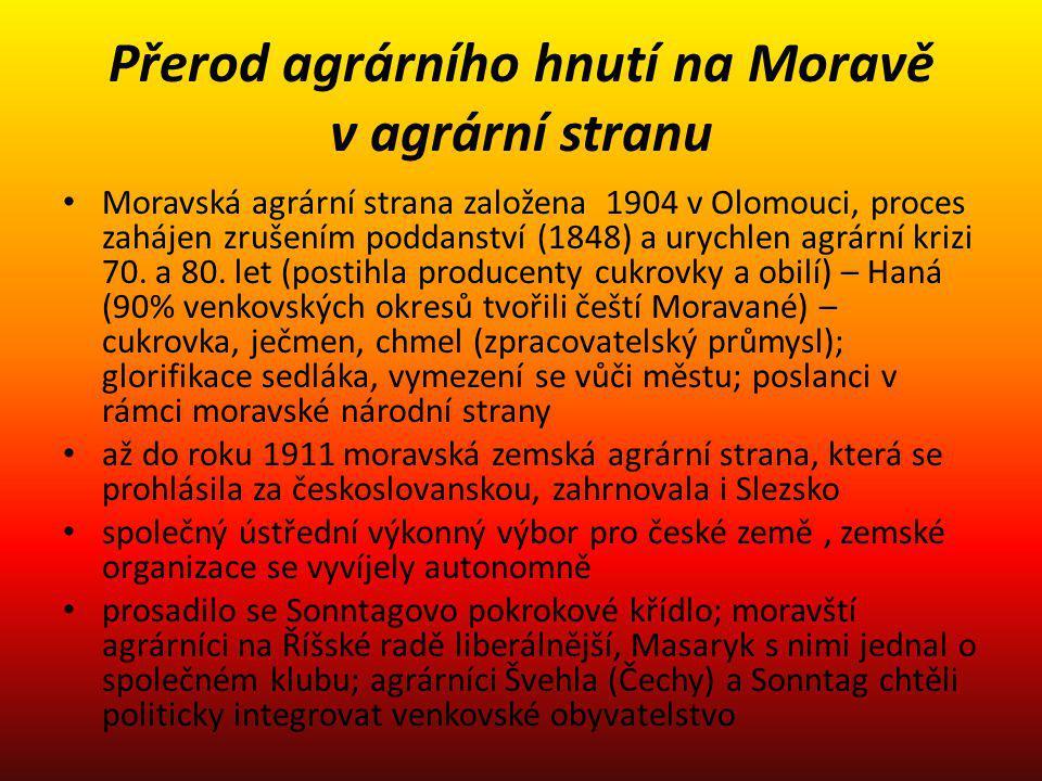 Přerod agrárního hnutí na Moravě v agrární stranu Moravská agrární strana založena 1904 v Olomouci, proces zahájen zrušením poddanství (1848) a urychl