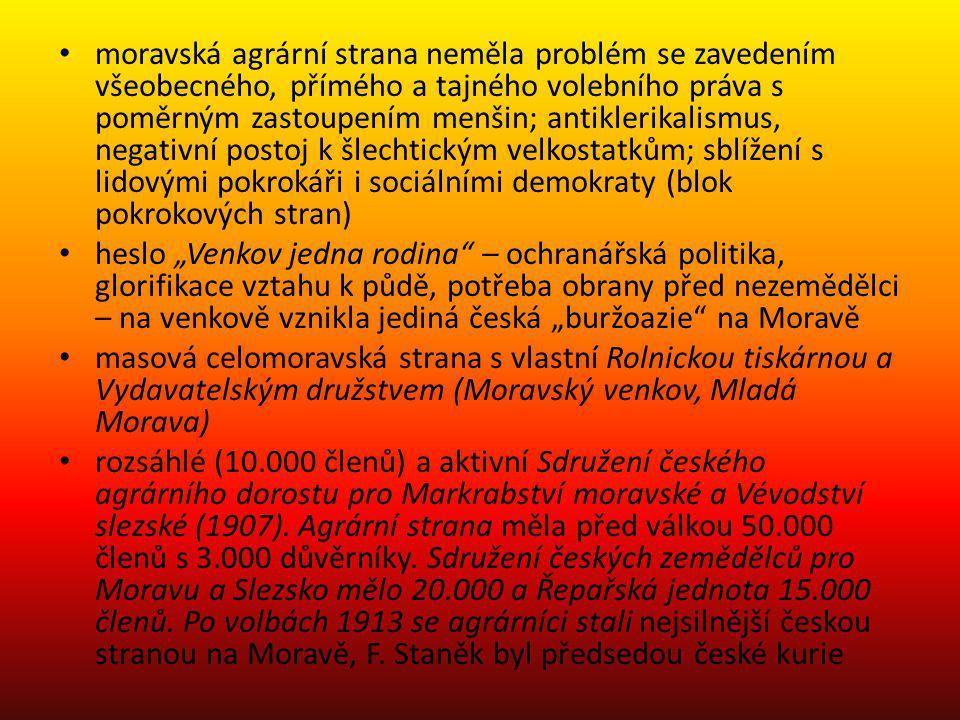 moravská agrární strana neměla problém se zavedením všeobecného, přímého a tajného volebního práva s poměrným zastoupením menšin; antiklerikalismus, n