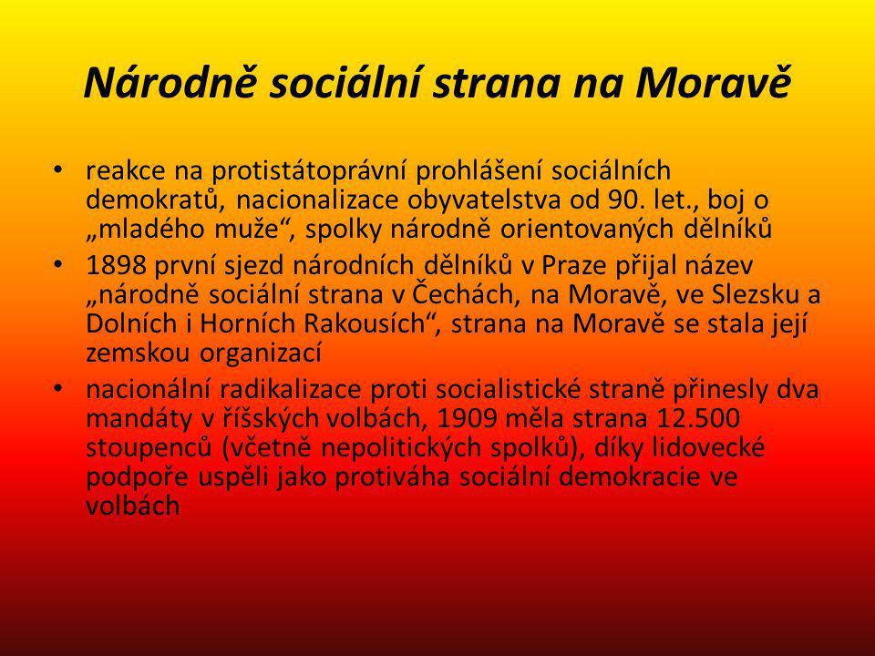 """Národně sociální strana na Moravě reakce na protistátoprávní prohlášení sociálních demokratů, nacionalizace obyvatelstva od 90. let., boj o """"mladého m"""