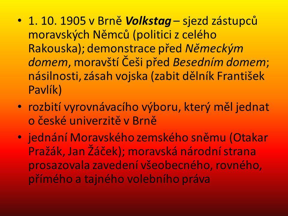 1. 10. 1905 v Brně Volkstag – sjezd zástupců moravských Němců (politici z celého Rakouska); demonstrace před Německým domem, moravští Češi před Besedn