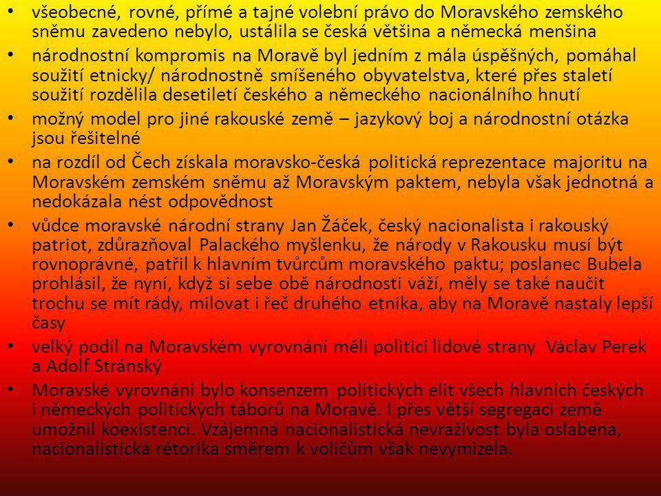všeobecné, rovné, přímé a tajné volební právo do Moravského zemského sněmu zavedeno nebylo, ustálila se česká většina a německá menšina národnostní ko