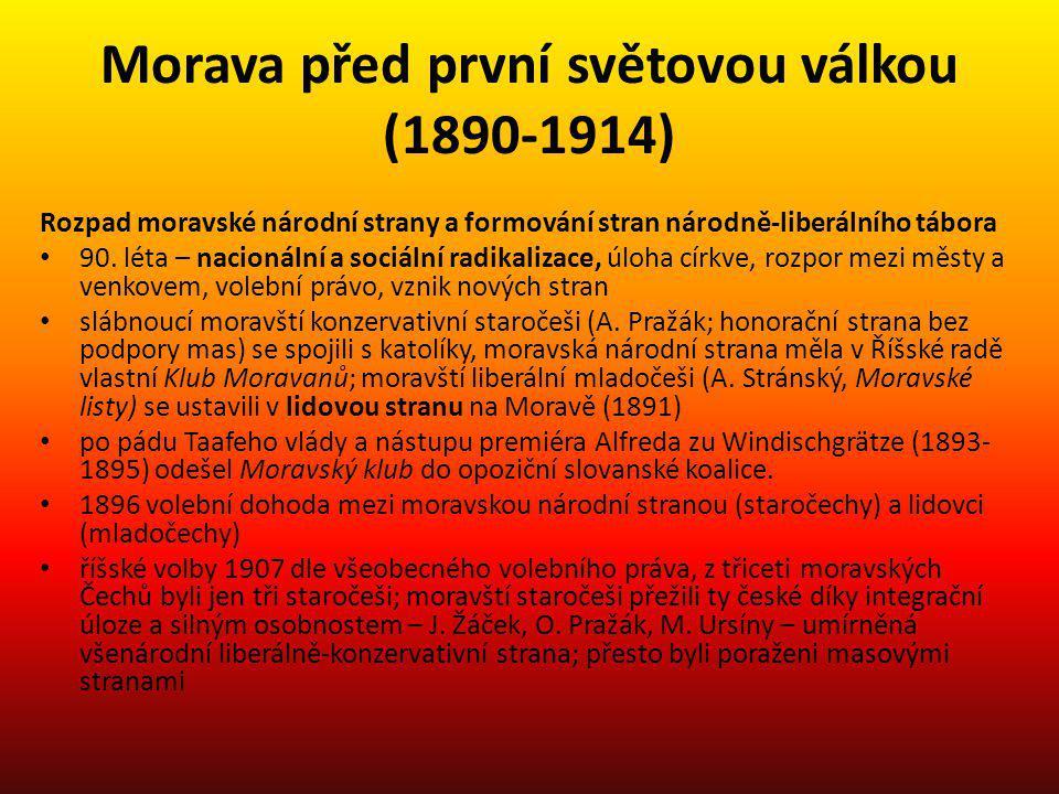 Morava před první světovou válkou (1890-1914) Rozpad moravské národní strany a formování stran národně-liberálního tábora 90. léta – nacionální a soci