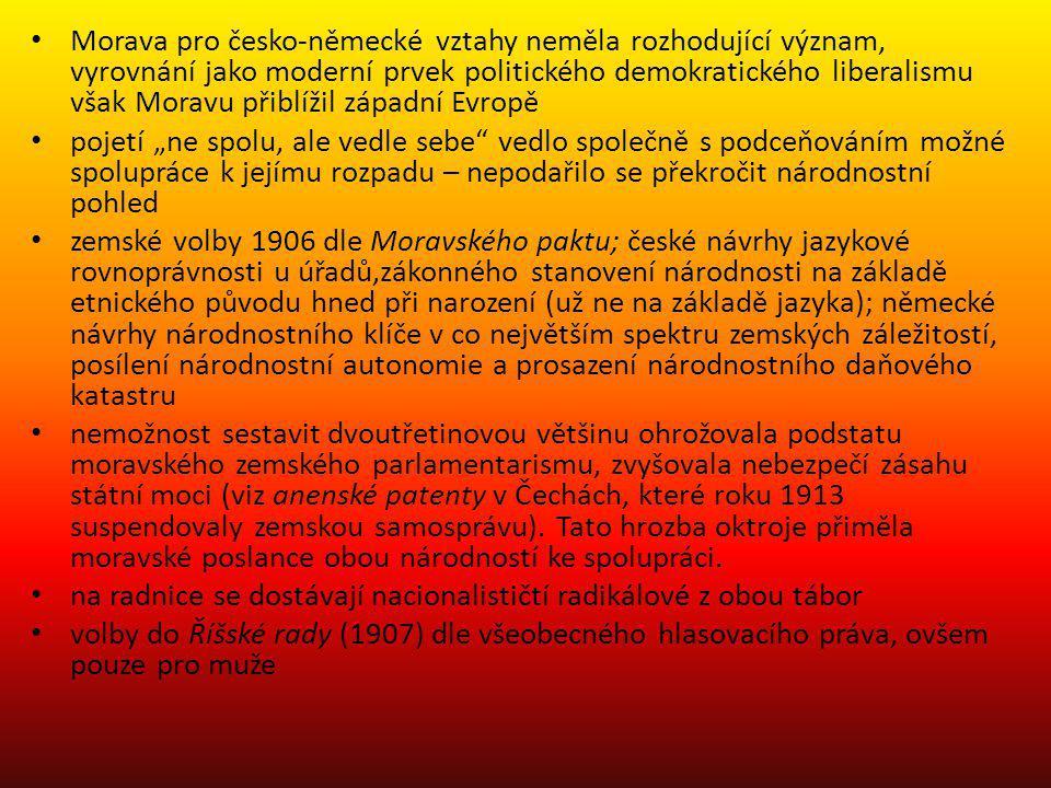 Morava pro česko-německé vztahy neměla rozhodující význam, vyrovnání jako moderní prvek politického demokratického liberalismu však Moravu přiblížil z